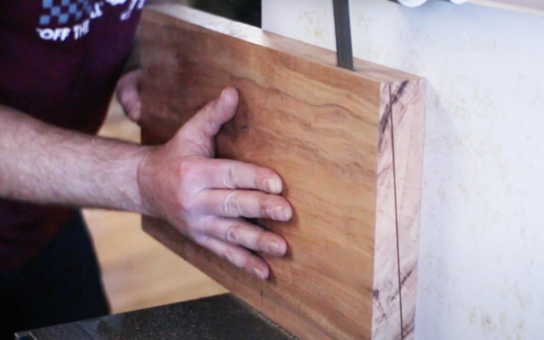 Re-sawing the applewood